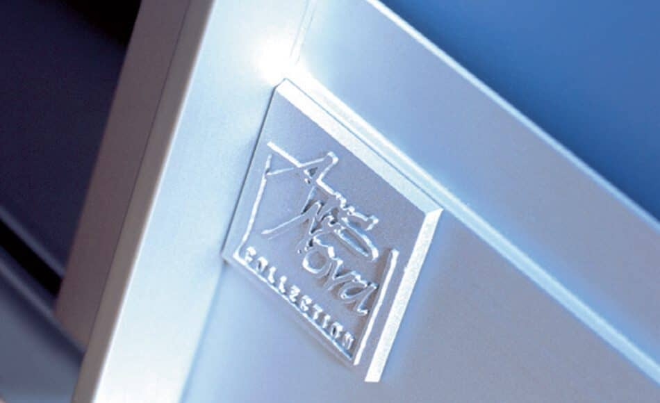 The picture depicts the Ars Nova Collection logo on a sliding door.
