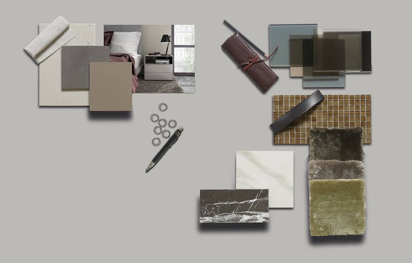 The picture depicts a collage of the different materials used by Ars Nova Collection.