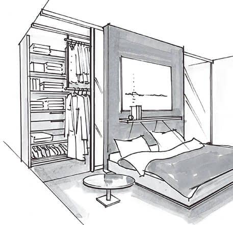 The picture depicts a sketch of a bedroom; in the lower part, there is a bed with a nightstand; in the upper part, there is a built-in wardrobe with sliding doors.