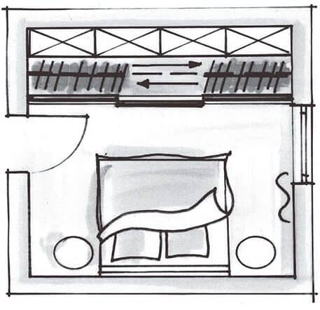 The picture is a sketch of a bedroom with an integrated, walk-in wardrobe that is partitioned off from the room with sliding doors.