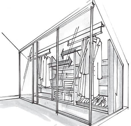 The picture depicts a sketch of the Beta Quattro built-in cabinet under a sloped roof.