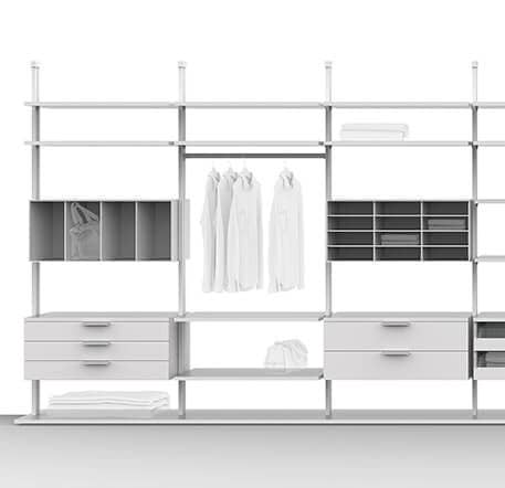 Two variations of the Centric shelving system by Ars Nova Collection are depicted. The program elements are presented in different finishes.